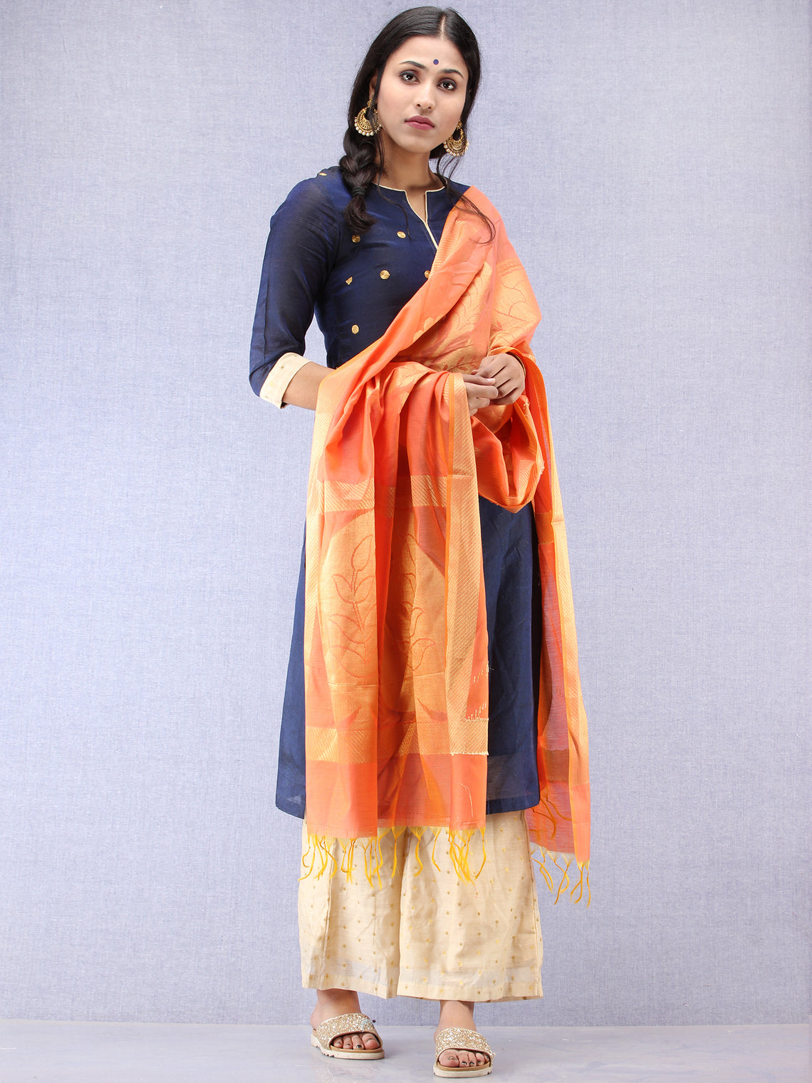 Banarasi Chanderi Dupatta With Zari Work - Peach & Gold - D04170792