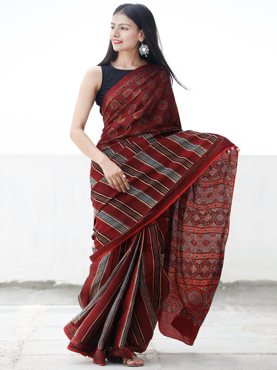 Red Black Beige Indigo Maroon Ajrakh Hand Block Printed Modal Silk Saree in Natural Colors - S031703696