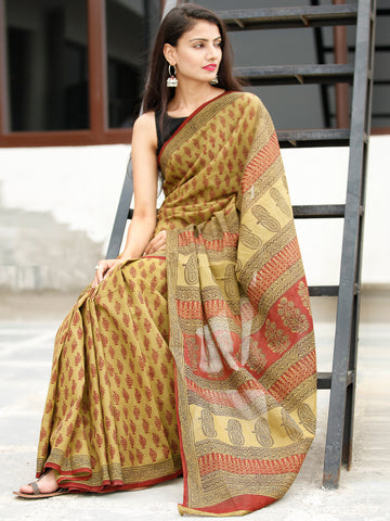 Olive Green Maroon Black Bagh Hand Block Printed Cotton Saree - S031703819