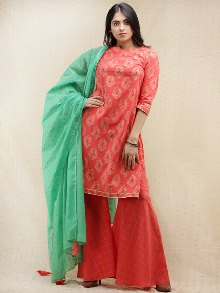 Samrina - Peach Gold Printed Kurta Sharara Set With Dupatta - SS02F1995
