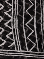 Black White Hand Block Printed Kota Doria Saree In Natural Colors - S031703193