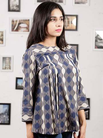 Indigo Grey White Hand Block Printed Cotton Top - T34F871