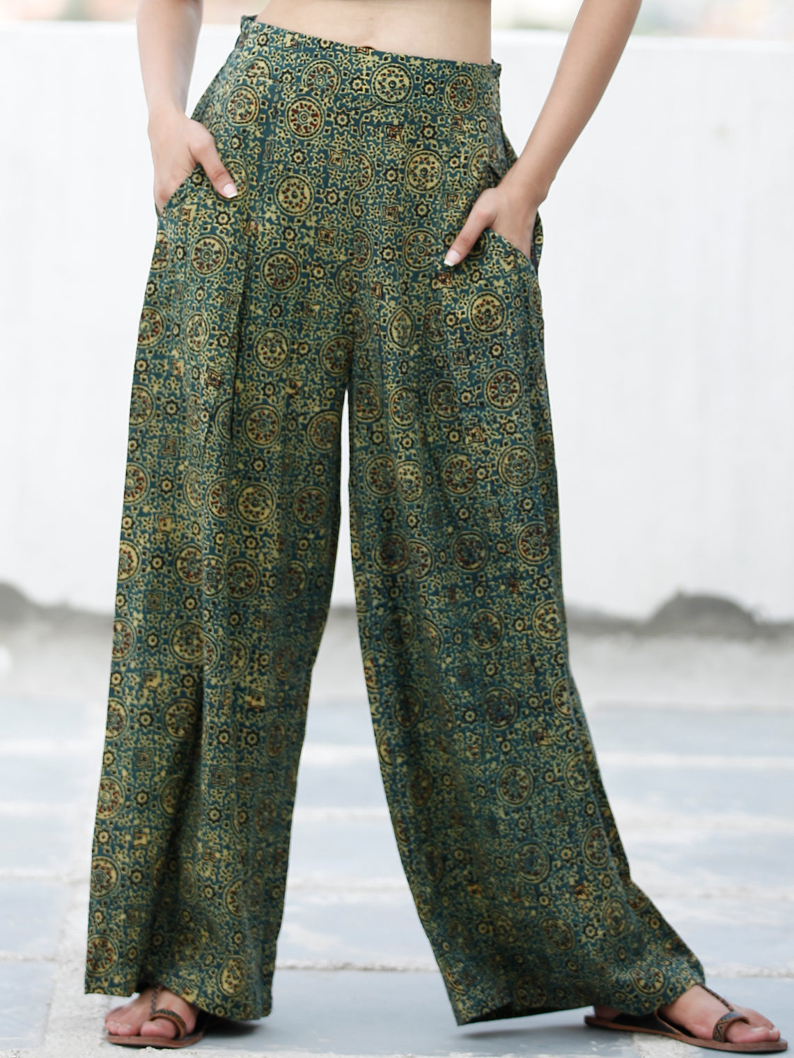 Green Yellow Black Ajrakh Hand Block Printed Semi Elasticated Waist Pleated Cotton Palazzo - P11F1682