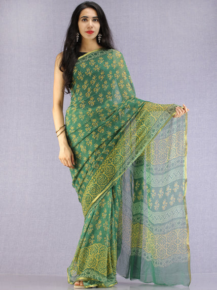 Green Yellow Hand Block Printed Chiffon Saree with Zari Border - S031704619