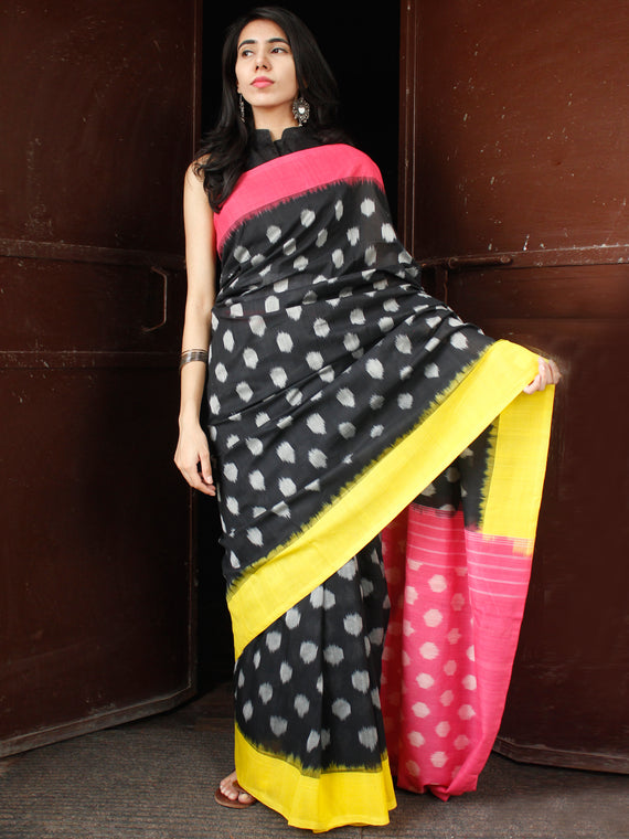 Black Pink Yellow Grey Double Ikat Handwoven Mercerised Cotton Saree - S031703670