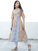 Sky Blue Pink Orange Pastel Green Hand Block Printed Cotton Kurta - K189F1917