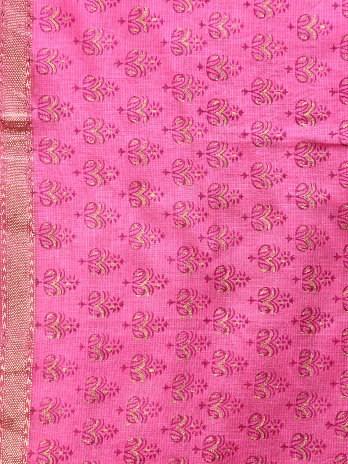 Pink Gold Print Cotton Hand Block Printed Dupatta - D04170724