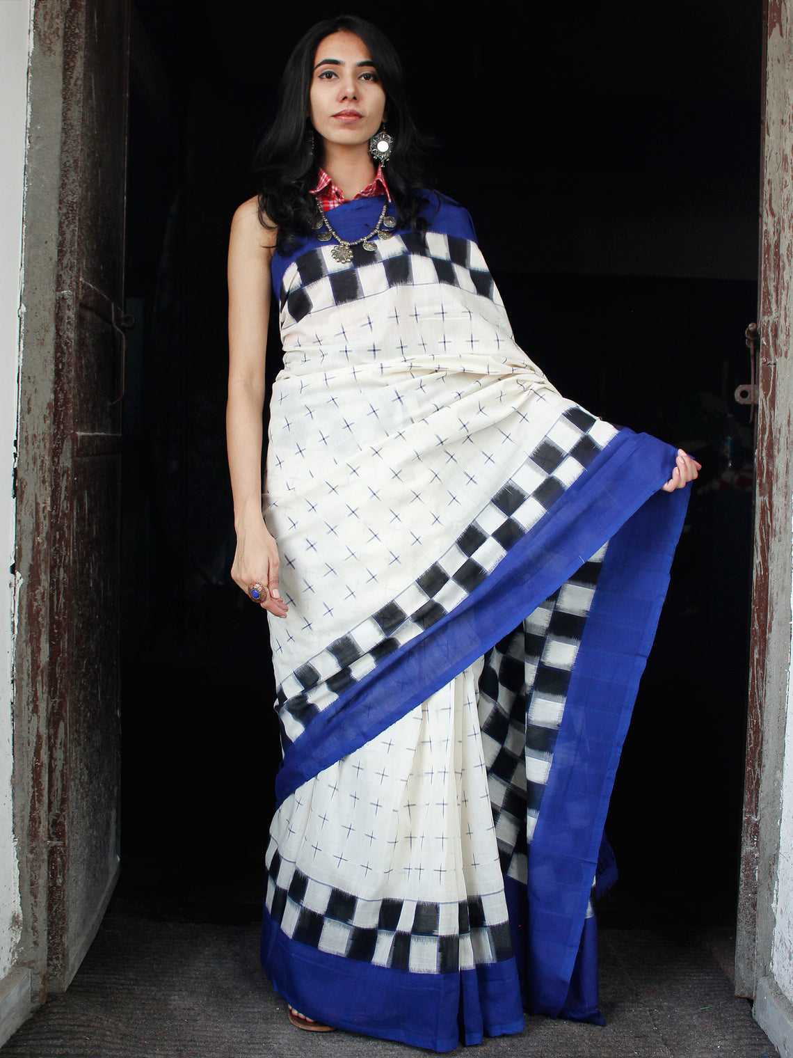 Off White Blue Double Ikat Handwoven Cotton Saree - S031703548