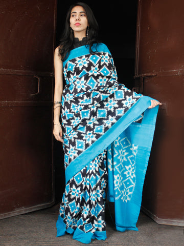 Sky Blue Black White Telia Rumal Double Ikat Handwoven Pochampally Mercerised Cotton Saree - S031703671