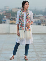 White Multicolor Jamavari Aari  Embroidered Pure Wool Kashmiri Stole - S200543