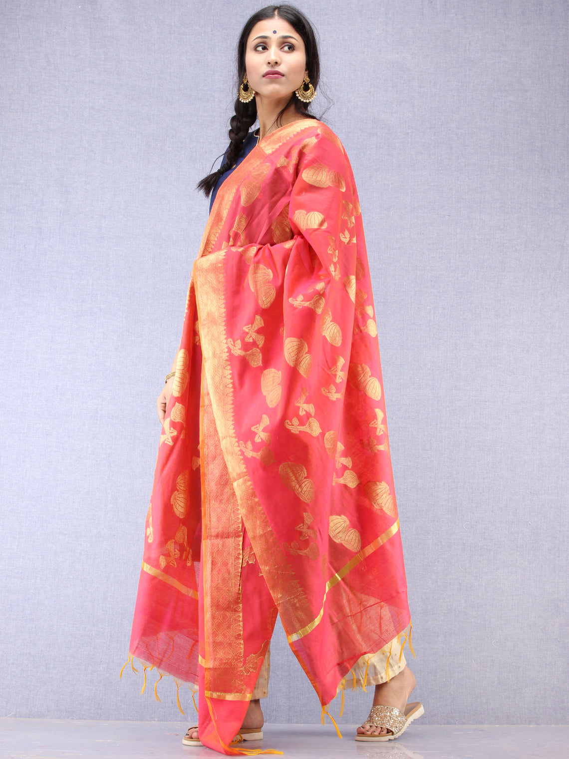 Banarasi Chanderi Dupatta With Zari Work - Magenta & Gold - D04170830