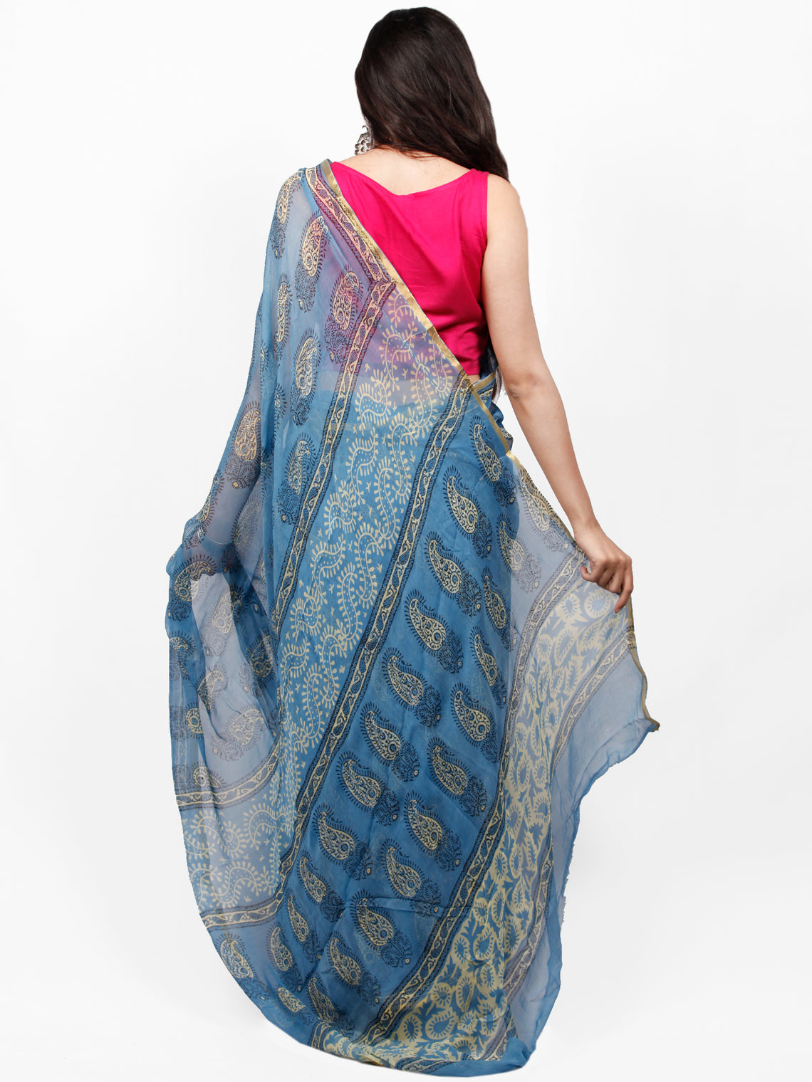 Sky Blue Yellow Hand Block Printed Chiffon Saree with Zari Border - S031703271