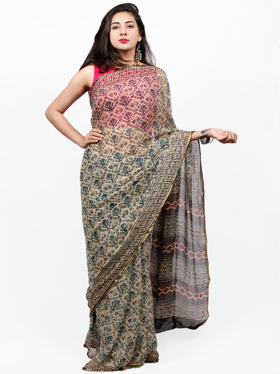 Ivory Teal Blue Black Hand Block Printed Chiffon Saree with Zari Border - S031703272