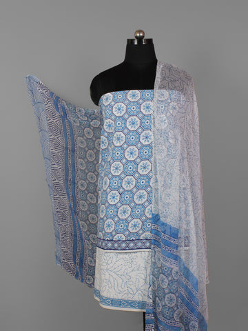 White Blue Hand Block Printed Cotton Suit-Salwar Fabric With Chiffon Dupatta (Set of 3) - S16281316