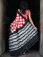 Red Black Grey White Double Ikat Handwoven Mercerised Cotton Saree - S031703549
