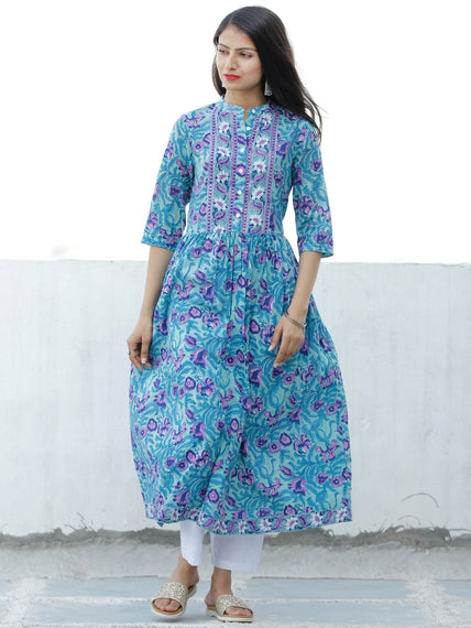Light Green Lilac Indigo Hand Block Printed Cotton Kurta - K194F1897