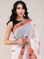 White Aari Embroidered Georgette Saree From Kashmir - S031704663