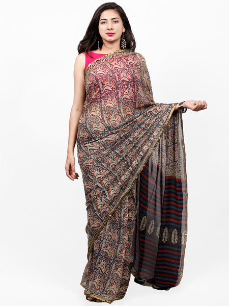 Ivory Indigo Red Hand Block Printed Chiffon Saree with Zari Border - S031703273