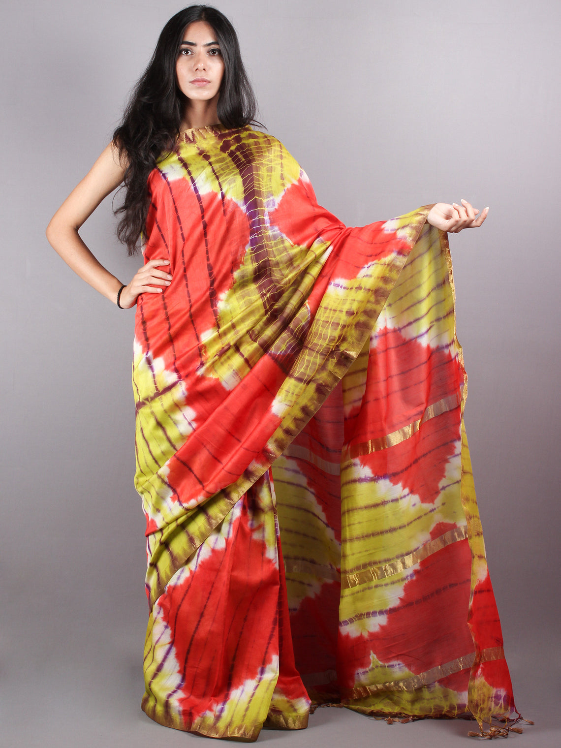 Red Mint Green Red Marvel Hand Shibori Dyed in Natural Colors Chanderi Saree with Geecha Border - S03170140