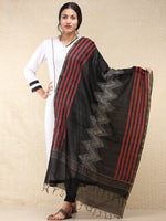 Black Red Chanderi Hand Block Printed Dupatta - D04170729
