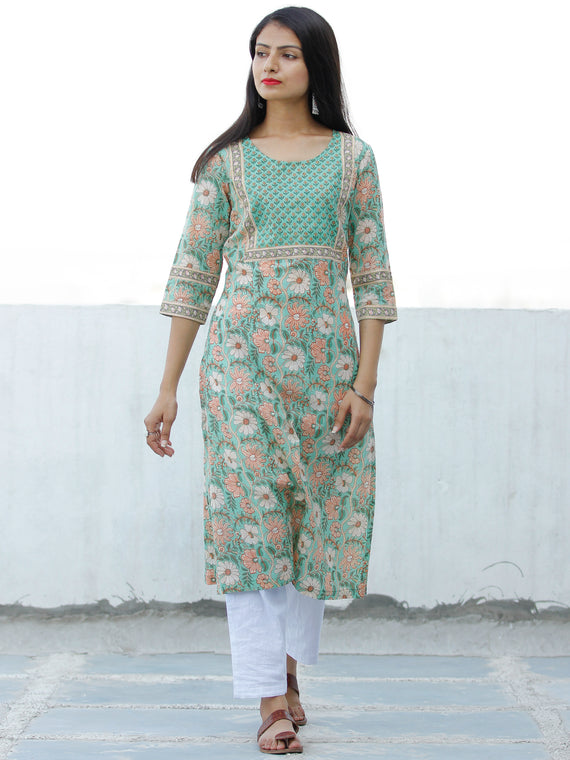 Light Green Peach OffWhite Block Printed Cotton Kurta - K195F1929