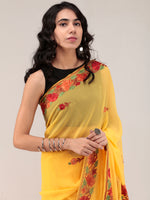 Yellow Aari Embroidered Georgette Saree From Kashmir - S031704665