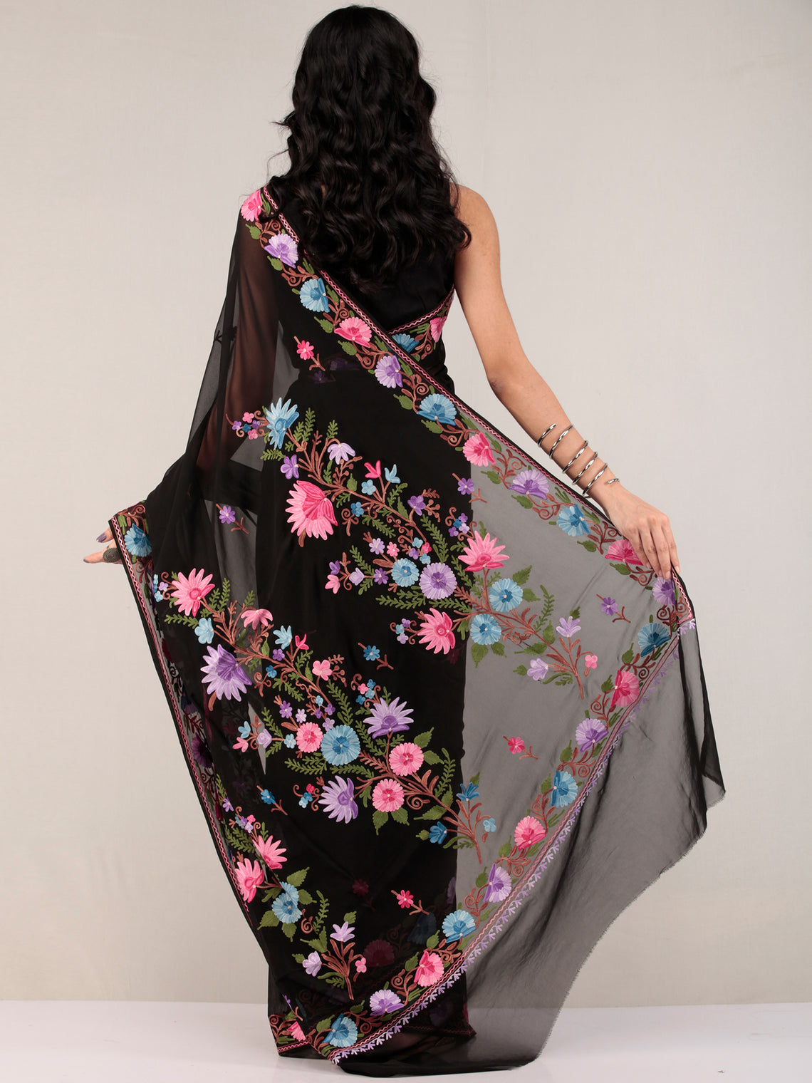 Black Aari Embroidered Georgette Saree From Kashmir - S031704666