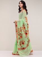 Green Aari Embroidered Georgette Saree From Kashmir - S031704667