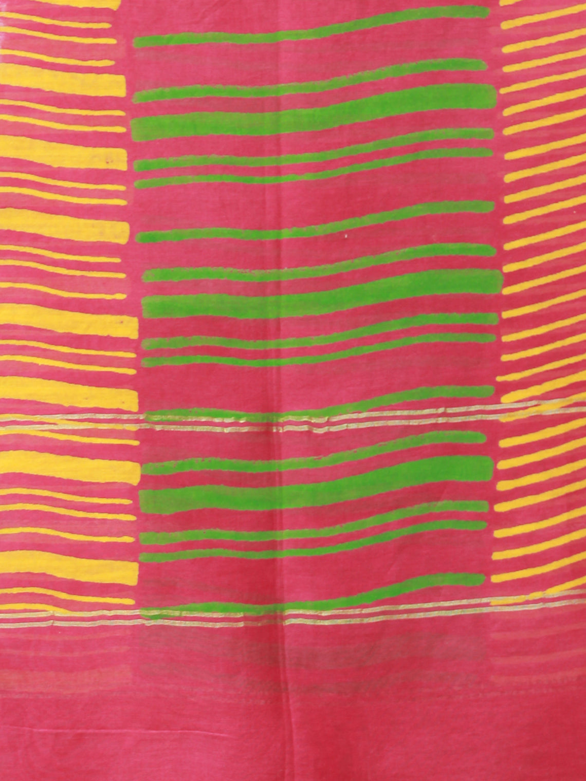 Red Green Yellow Chanderi Hand Block Printed Dupatta - D04170493