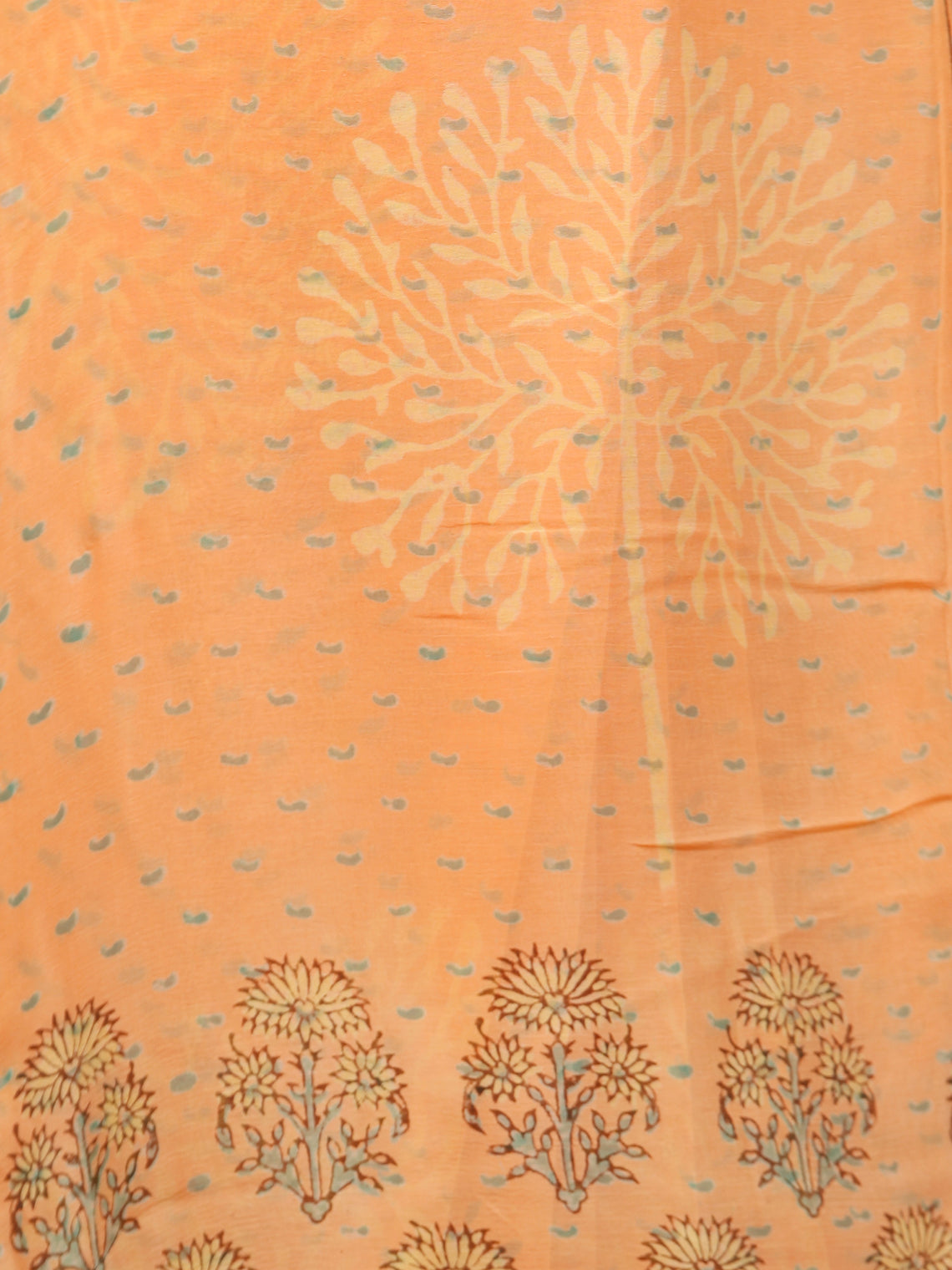 Peach Yellow Green Hand Block Printed Chiffon Saree with Zari Border - S031703278