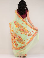 Green Aari Embroidered Georgette Saree From Kashmir - S031704669