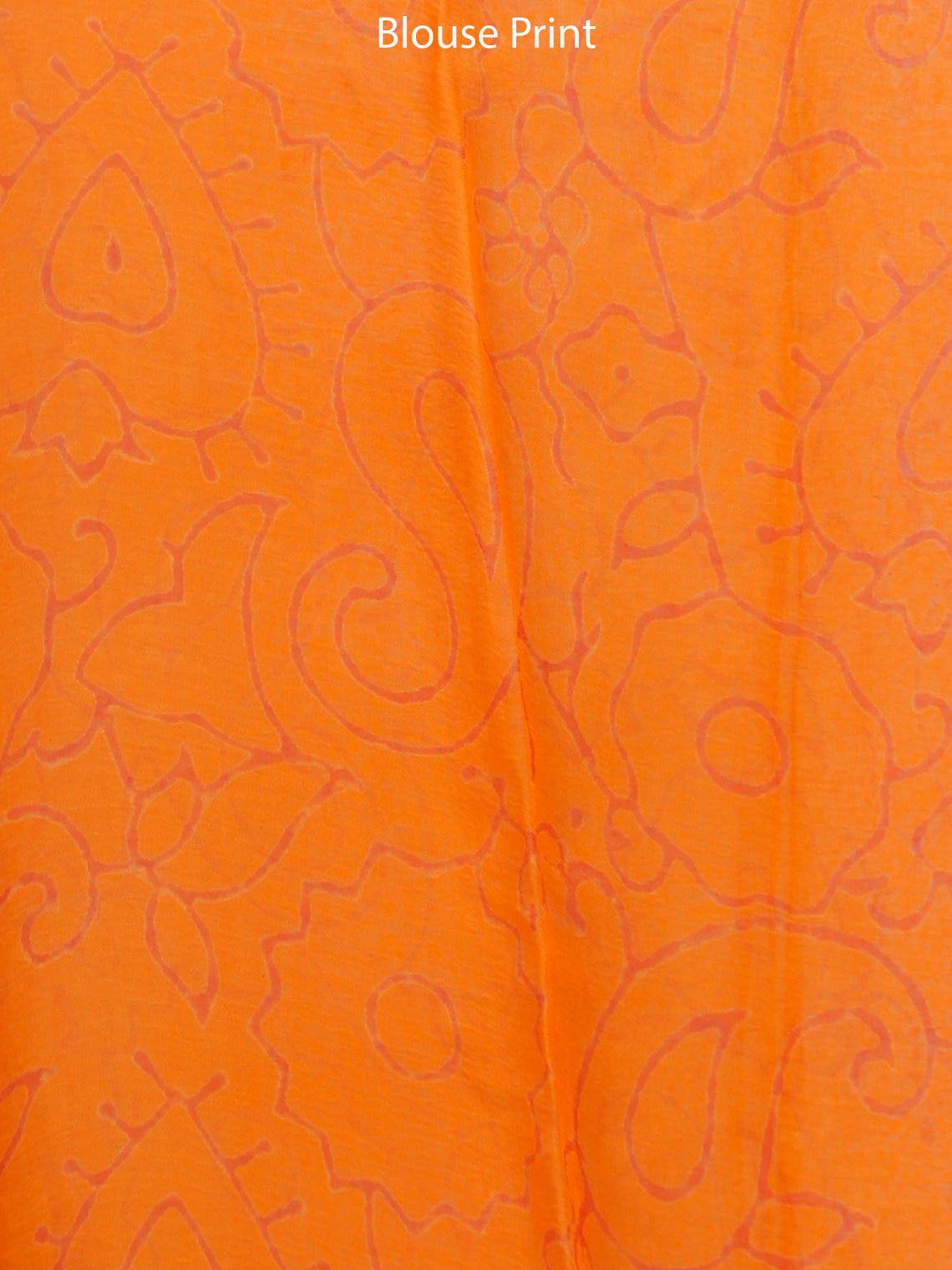 Orange Green Hand Block Printed Chiffon Saree with Zari Border - S031703279