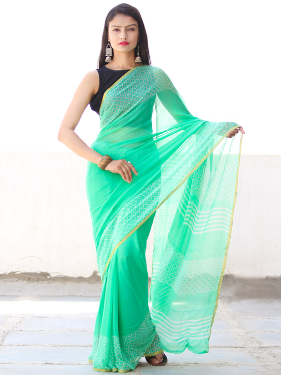 Greeen White Hand Block Printed Chiffon Saree with Zari Border - S031703914