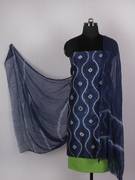 Indigo Ivory Lime Green Hand Shibori Dyed Chanderi Kurta & Chiffon Dupatta With Cotton Salwar Fabric Set of 3- S1628216