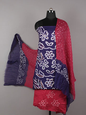 Purple Maroon White Hand Tie & Dye Bandhej Suit Salwar Dupatta (Set of 3) With Hand Embroidery & Mirror Work - S16281244