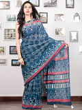 Indigo White Punch Pink Hand Block Printed Cotton Mul Saree With Tassels  - S031703018