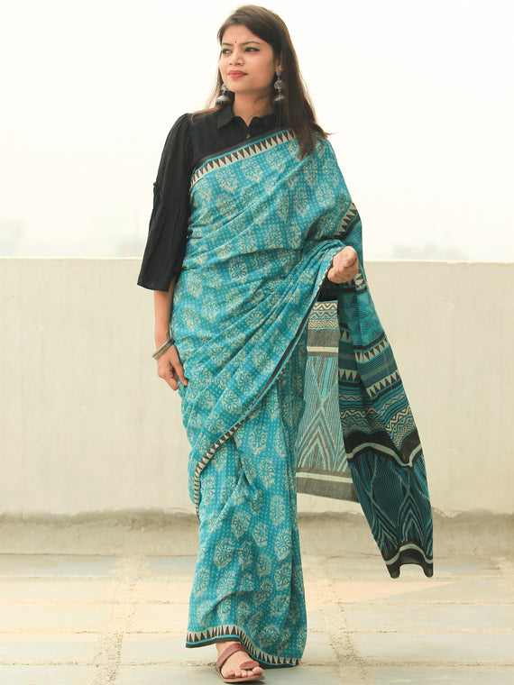 Sea Green Ivory Hand Block Printed  Cotton Mul Saree - S031704101