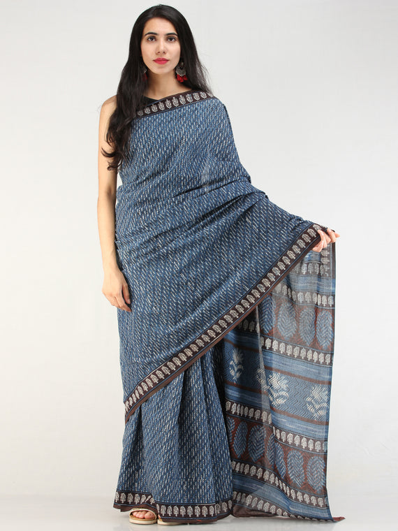 Indigo Offwhite Black Hand Block Printed  Cotton Mul Saree - s031704541