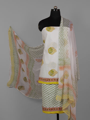 White Yellow Green Hand Block Printed Cotton Suit-Salwar Fabric With Chiffon Dupatta (Set of 3) - S16281280