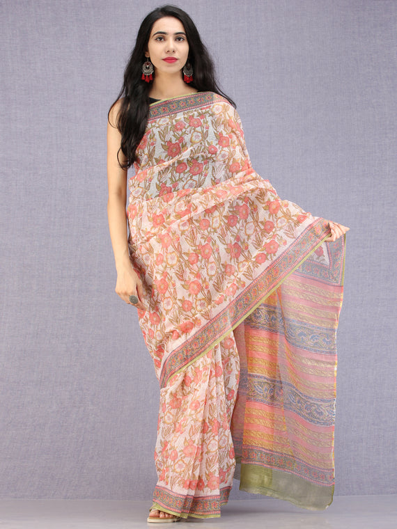 White Coral Green Hand Block Printed Kota Doria Saree - S031704586
