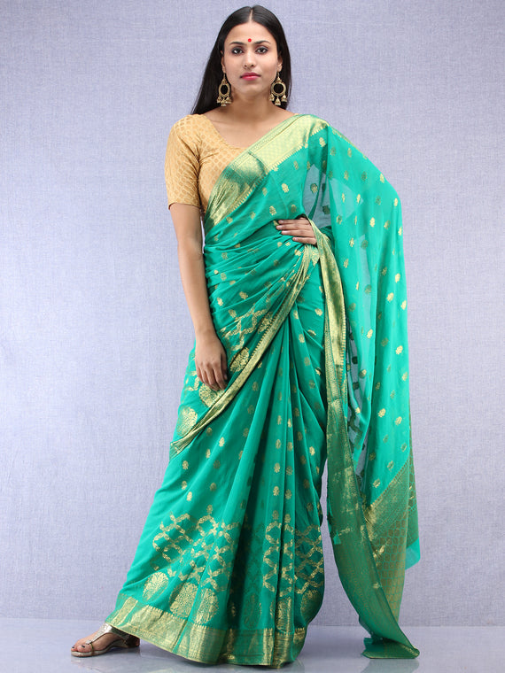 Banarasee Chiffon Saree With Golden Zari Weave - Sea Green & Gold - S031704403