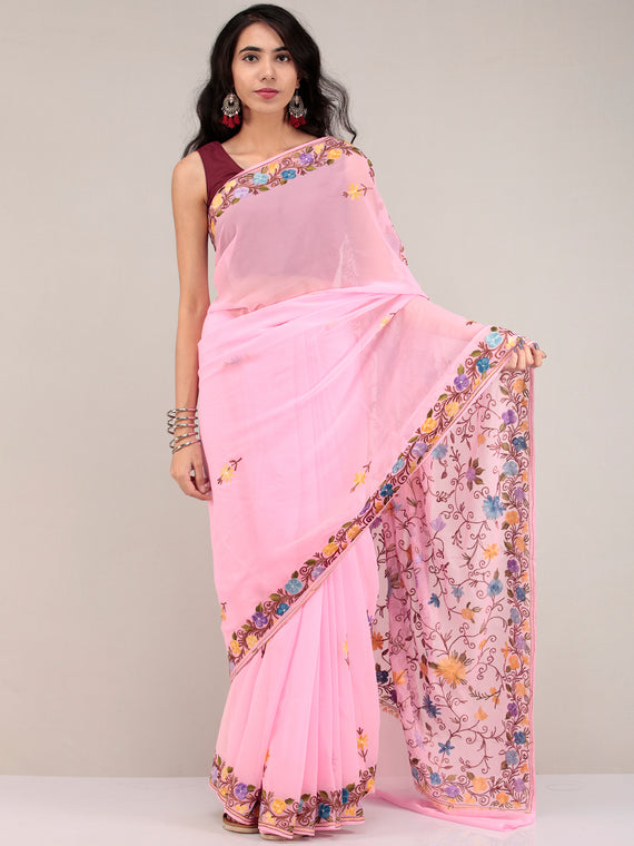 Baby Pink Aari Embroidered Georgette Saree From Kashmir - S031704626