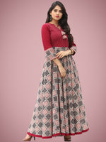 Fiza - Maroon Beige Hand Block Bagh Printed Urave Cut Long Dress - D397F2088