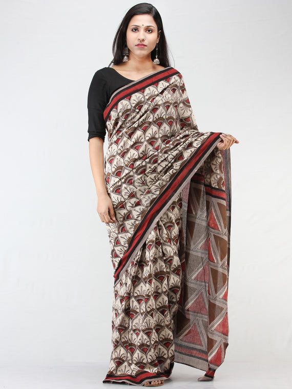 Beige Brown Red Hand Block Printed Cotton Mul Saree - S031704454