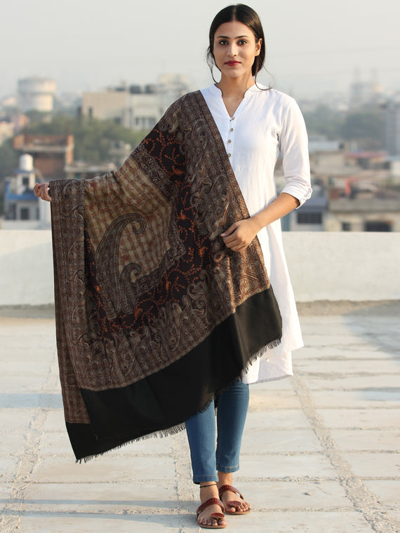 Black Beige Jamawar Needle Embroidered Woollen Kashmiri Shawl - S200508