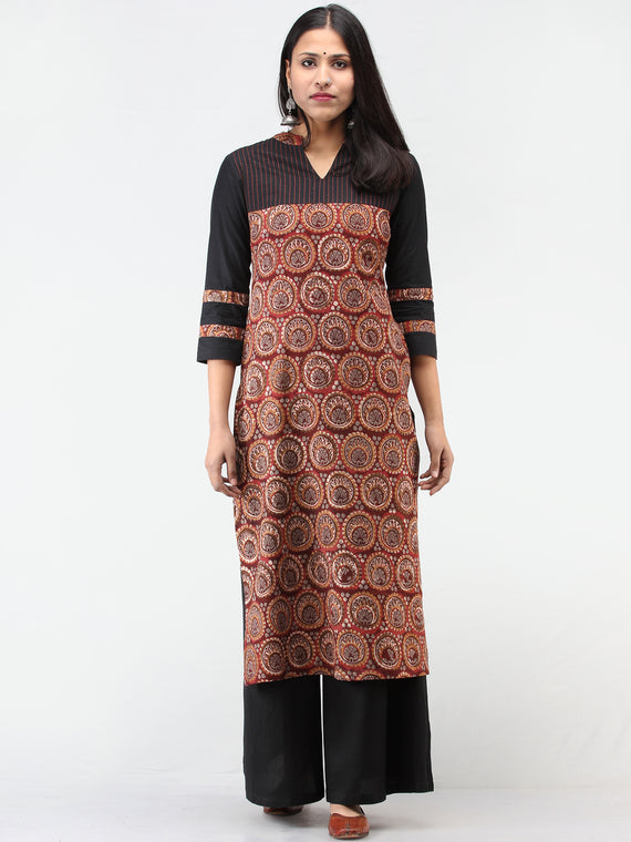 Rust Black Grey Hand Block Printed Kurta   - K207F1734