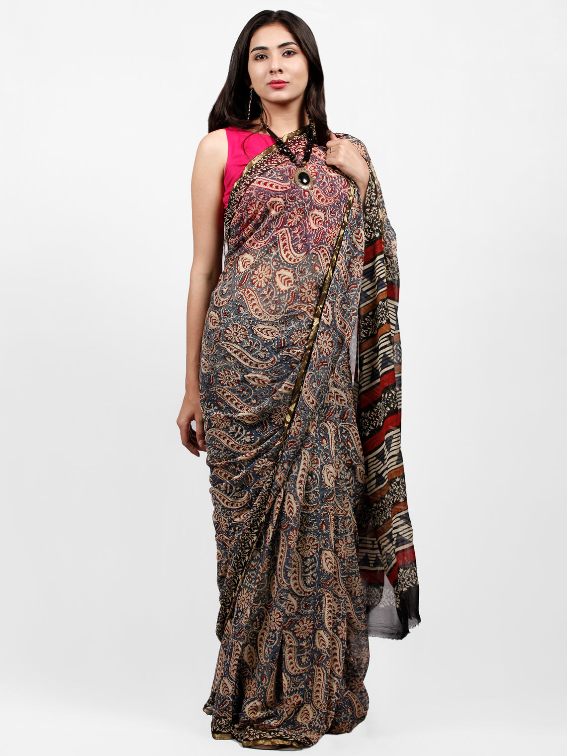 Ivory Indigo Red Black Hand Block Printed Chiffon Saree with Zari Border - S031703235