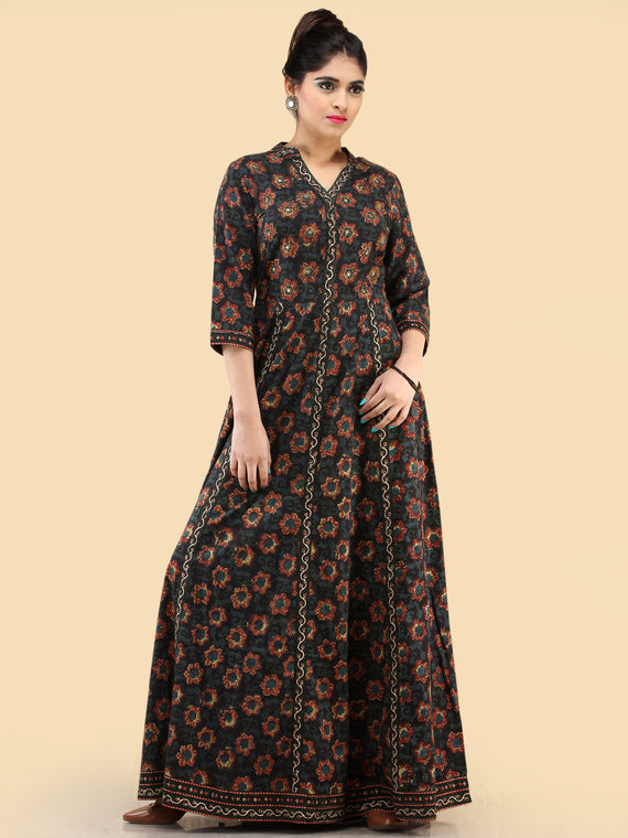 Nazia- Hand Block Printed Long Cotton Dress With Embroidered Yoke - D385F1820