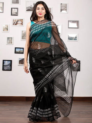 Black White Hand Block Printed Kota Doria Saree In Natural Colors - S031703194