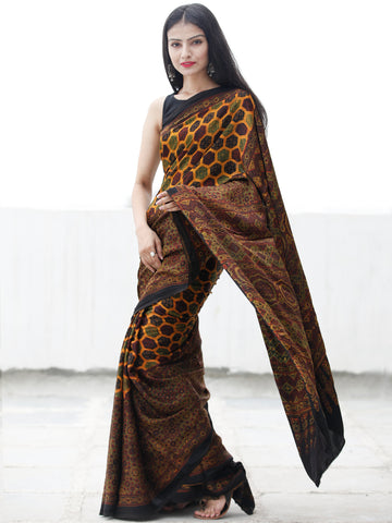 Yellow Green Black Maroon Ajrakh Hand Block Printed Modal Silk Saree in Natural Colors - S031703697